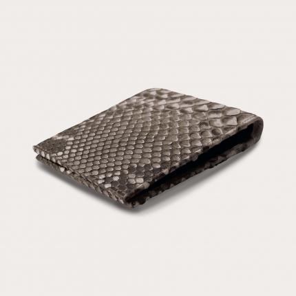Genuine python bifold wallet, mud