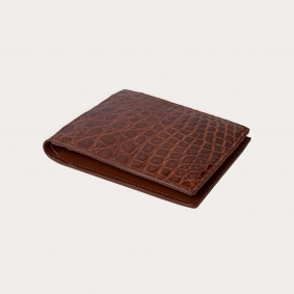 Portefeuille en cuir de crocodile, brun gold