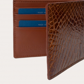 Genuine crocodile bifold wallet with flap, gold