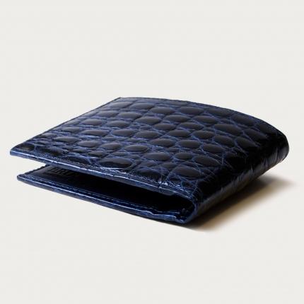 Genuine crocodile bifold wallet, blue