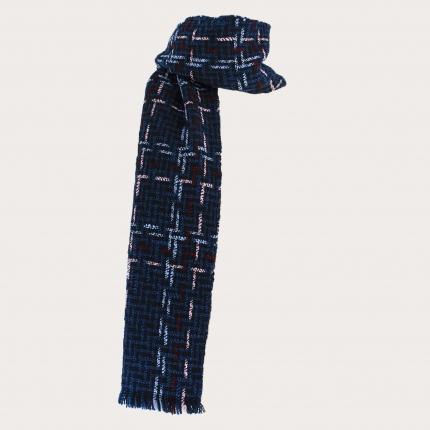 Warm woolen scarf with woven tartan pattern, blue