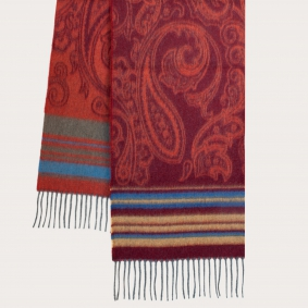 Cashmere scarf with paisley and stripes motif, multicolor