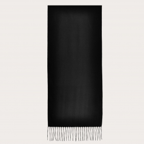 Warm cashmere scarf with fringes, black