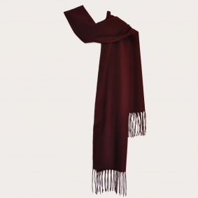 BRUCLE Warm cashmere scarf with fringes, burgundy