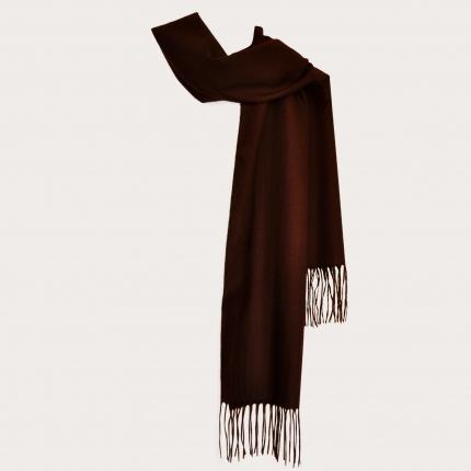 Warm cashmere scarf with fringes, dark brown