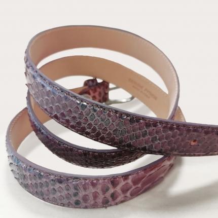 Ceinture en cuir de python H25 avec boucle brillante, rose