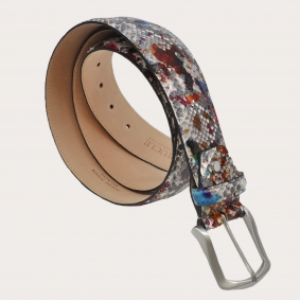 Genuine python belt, rock grey with painted handbuffering