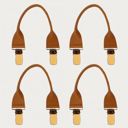 Set baffi marrone acero in cuoio con clip oro 4 pz.