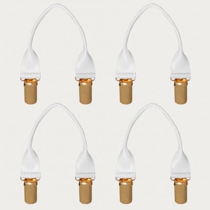Set baffi bianchi in cuoio con clip oro 4 pz.