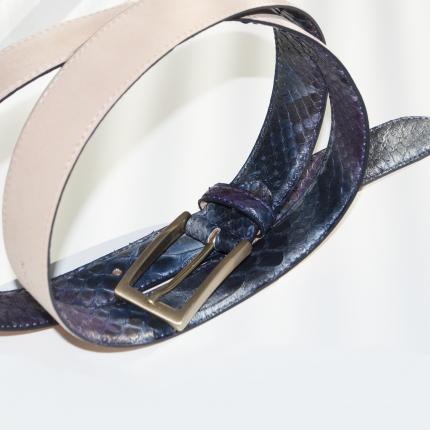 Pythonledergürtel H30 mit goldener Satinschnalle, blauer und lila