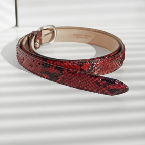 Python leather belt H25 with satin buckle, red