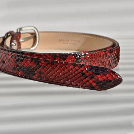Ceinture en cuir de python H25 avec boucle brillante, rouge