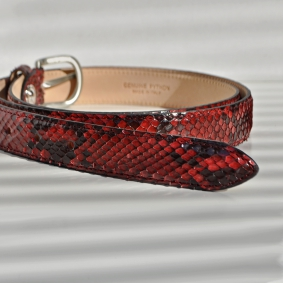 Python leather belt H25 with shiny buckle, red