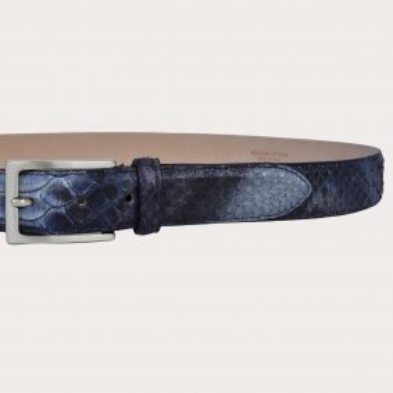 Ceinture en cuir de python H30 avec boucle en satin argent, coloré à la main, bleu et violet