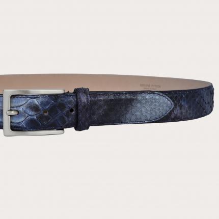 Cintura in pelle di pitone H30 tamponata a mano con fibbia satinata argento, blu e viola