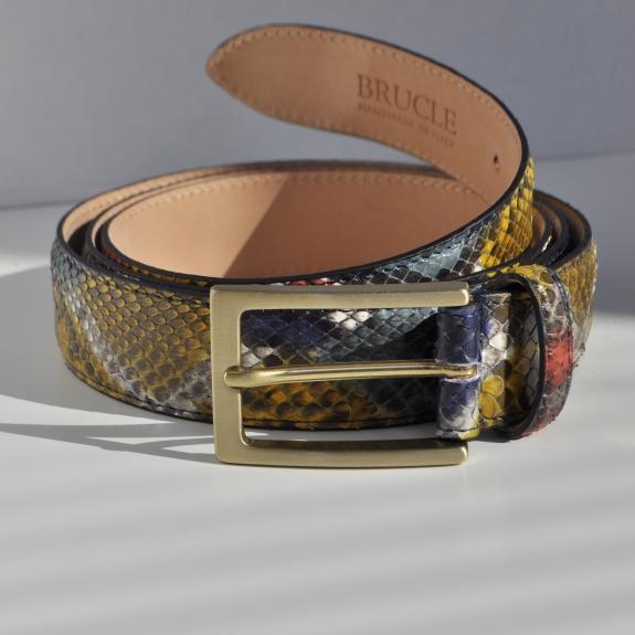 """Cintura in pelle di pitone H35 tamponata a mano con fibbia satinata oro, """"Arlecchino"""""""