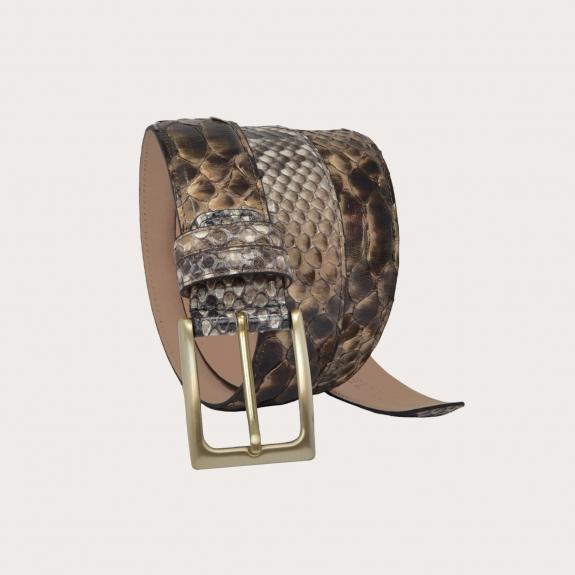 Ceinture en cuir de python H35 tamponné à la main avec boucle en satin doré, nuances de brun et de boue