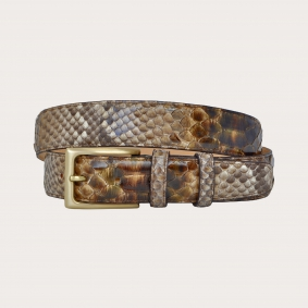 Hand-buffed H35 python leather belt with gold satin buckle, shades of brown and mud