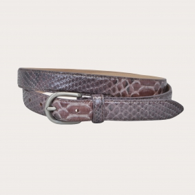 Python leather belt H25 with satin buckle, pink