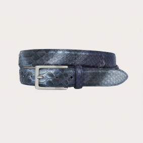 Python leather belt H30 handbuffered with silver satin buckle, blue and purple