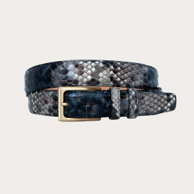 Hand-buffed H35 python leather belt with gold satin buckle, shades of blue and rock grey