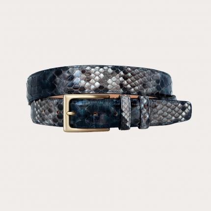 Handgepufferter H35 Pythonledergürtel mit Gold-Satinschnalle, Blautöne und Rock