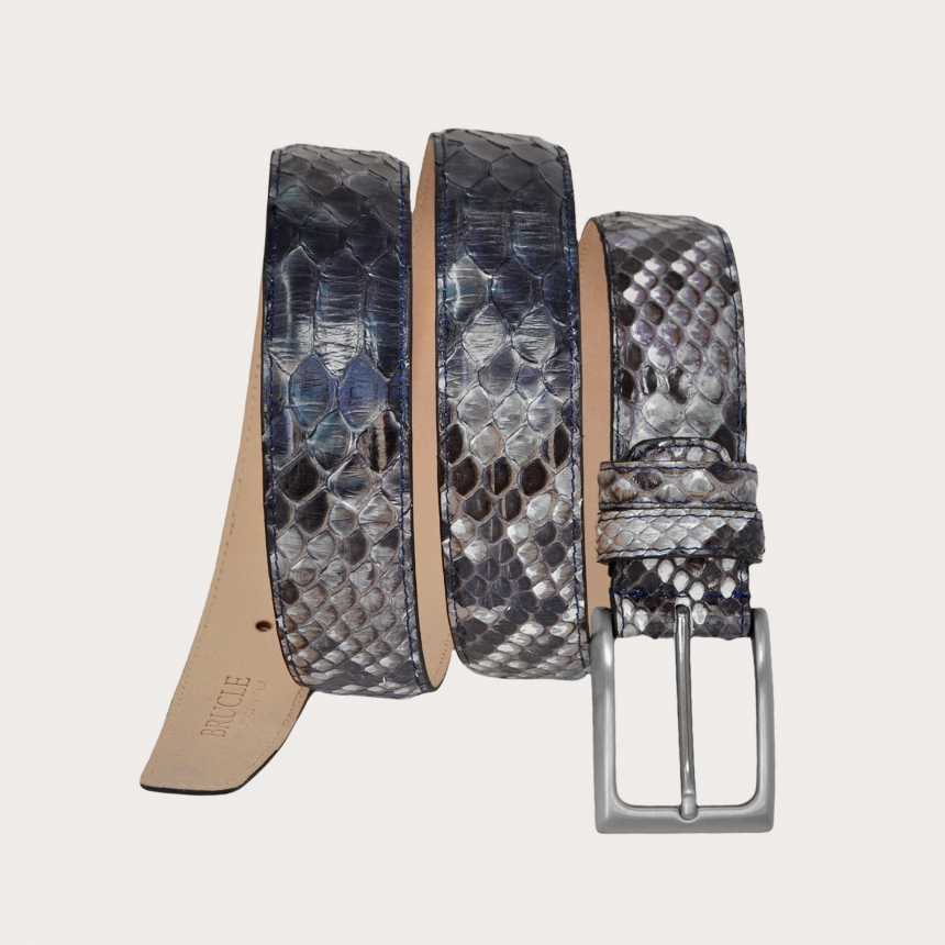 Cintura in pelle di pitone H35 tamponata a mano con fibbia satinata argento, toni di blu e roccia