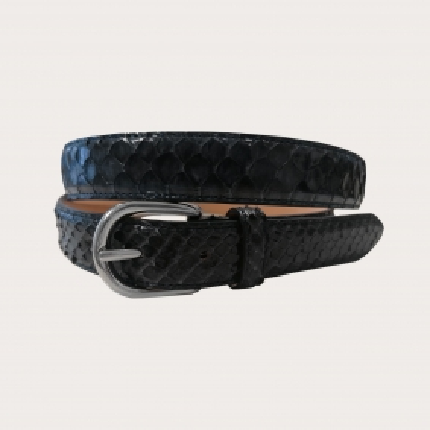 Cintura in pelle di pitone H25 con fibbia lucida, blu navy