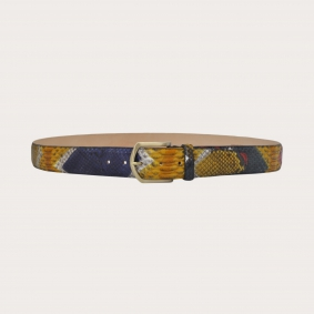 """Hand-buffed H40 python leather belt with gold satin buckle, """"Arlecchino"""""""