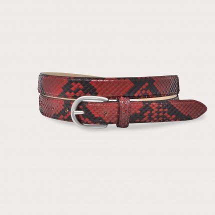 Ceinture en cuir de python H25 avec boucle en satin, rouge