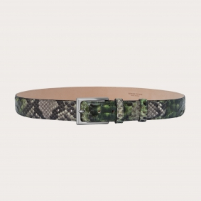 Hand-buffed H35 python leather belt with silver satin buckle, shades of green and mud