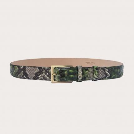 Cintura in pelle di pitone H35 tamponata a mano con fibbia satinata oro, toni di verde e fango