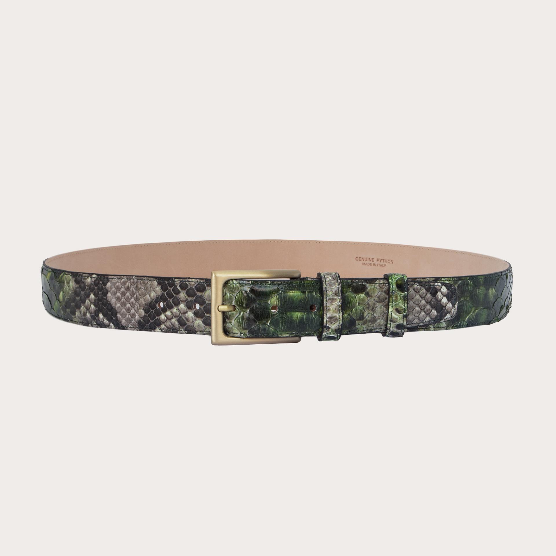 BRUCLE Cintura in pelle di pitone H35 tamponata a mano con fibbia satinata oro, toni di verde e fango