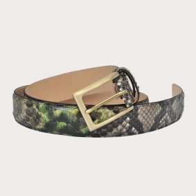 Hand-buffed H35 python leather belt with gold satin buckle, shades of green and mud