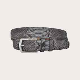 Hand-buffed python leather belt with silver shiny buckle nickel free, dusty blue