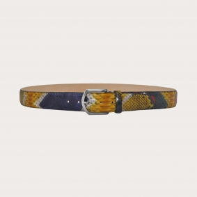 """Hand-buffed H40 python leather belt with silver satin buckle, """"Arlecchino"""""""