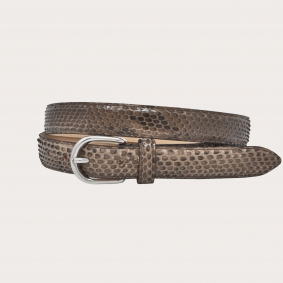 Python leather belt H25 with shiny buckle, brown