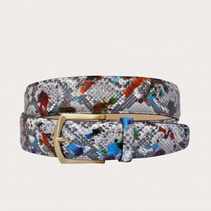 """Cintura in pitone spruzzata di colore con fibbia oro, motivo multicolore """"Pollock"""""""