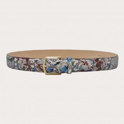"Color-sprayed python belt with golden buckle, multicolored ""Pollock"" motif, nickel free"