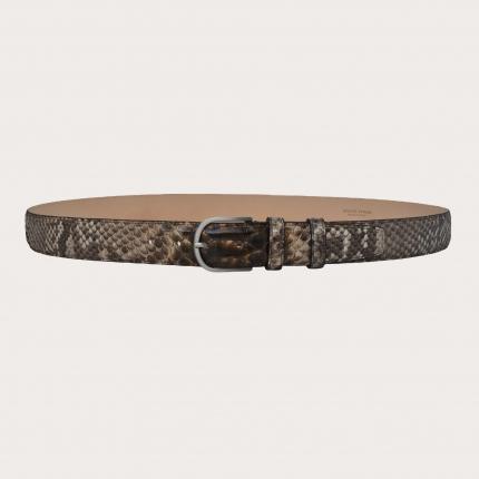 Ceinture en cuir de python H35 tamponné à la main avec boucle argent sans nickel, nuances de brun et de boue