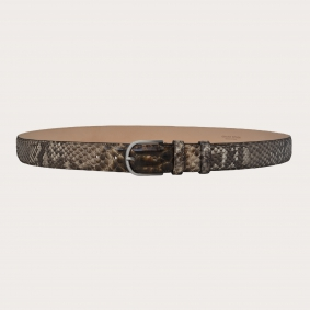 Hand-buffed H35 python leather belt with silver satin buckle, shades of brown and mud