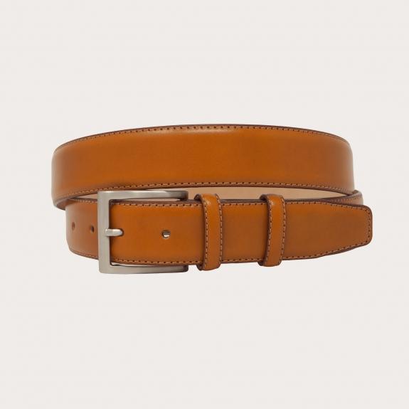 Leather belt, cinnamon brown