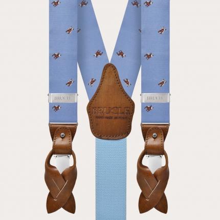 Bretelle azzurre in seta jacquard con bulldog francesi