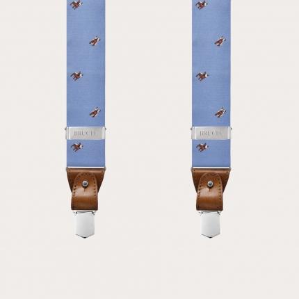 Bretelles larges en soie bleue clair avec bulldog français