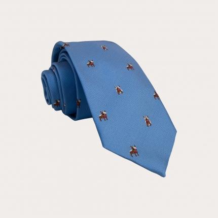 Silk necktie, light blue with french bulldog