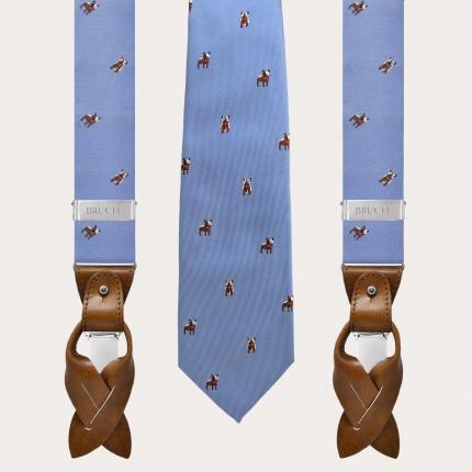 Bretelle e cravatta coordinate in seta, azzurre con bulldog francesi