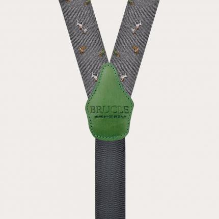 Bretelles larges en soie à thème de chasse à clip ou boutonniere