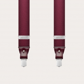 Formal fabric silk suspenders, dotted burgundy