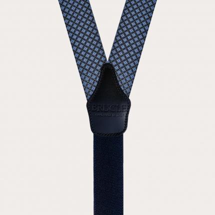 Bretelles homme en soie, motif losange bleu