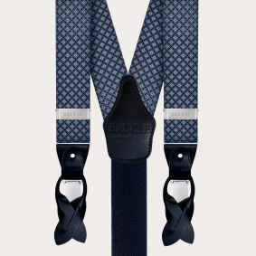 Men's suspenders in silk, green and white squares pattern
